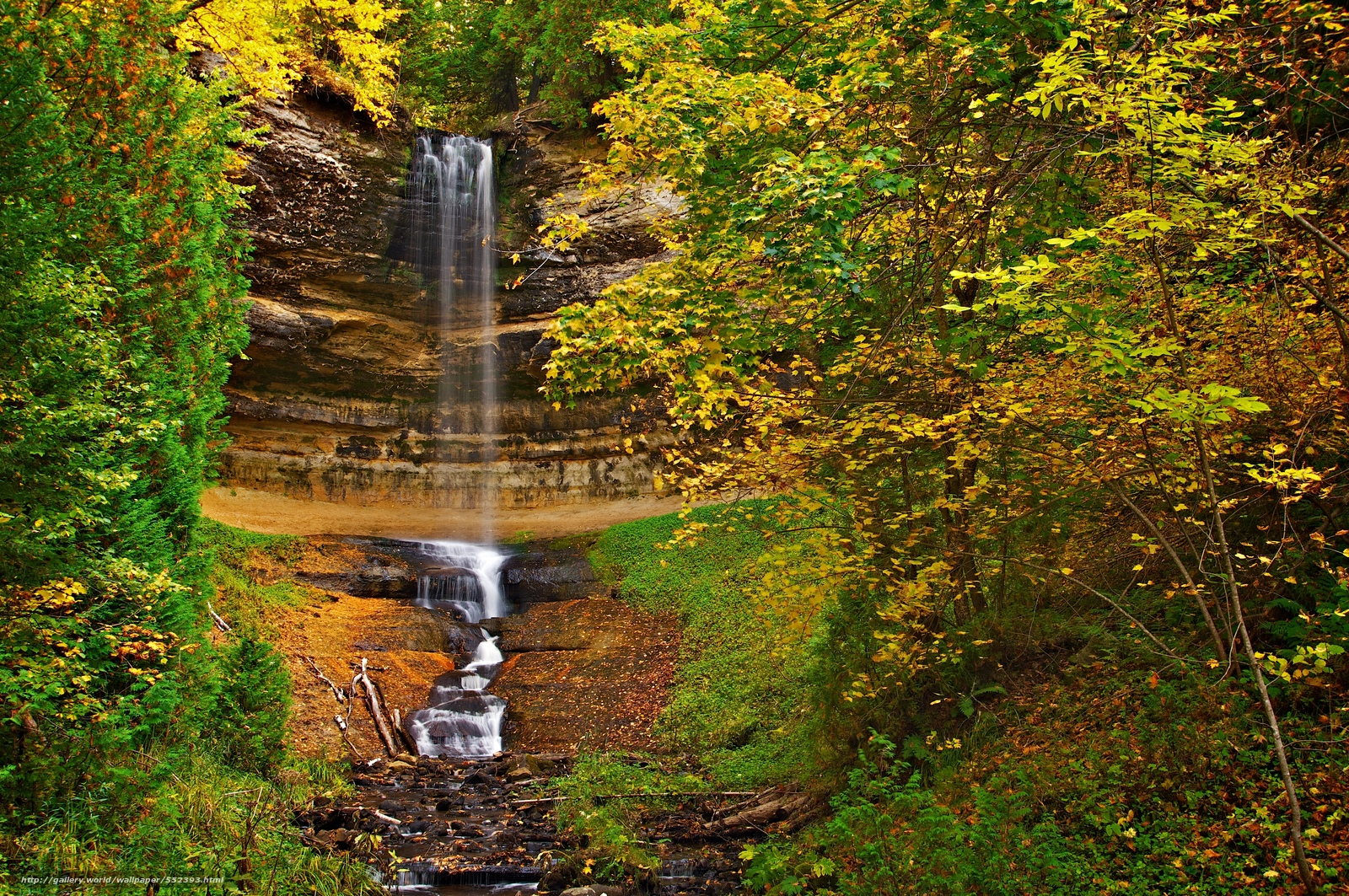 wallpaper autumn waterfall Rocks trees desktop wallpaper 1600x1063