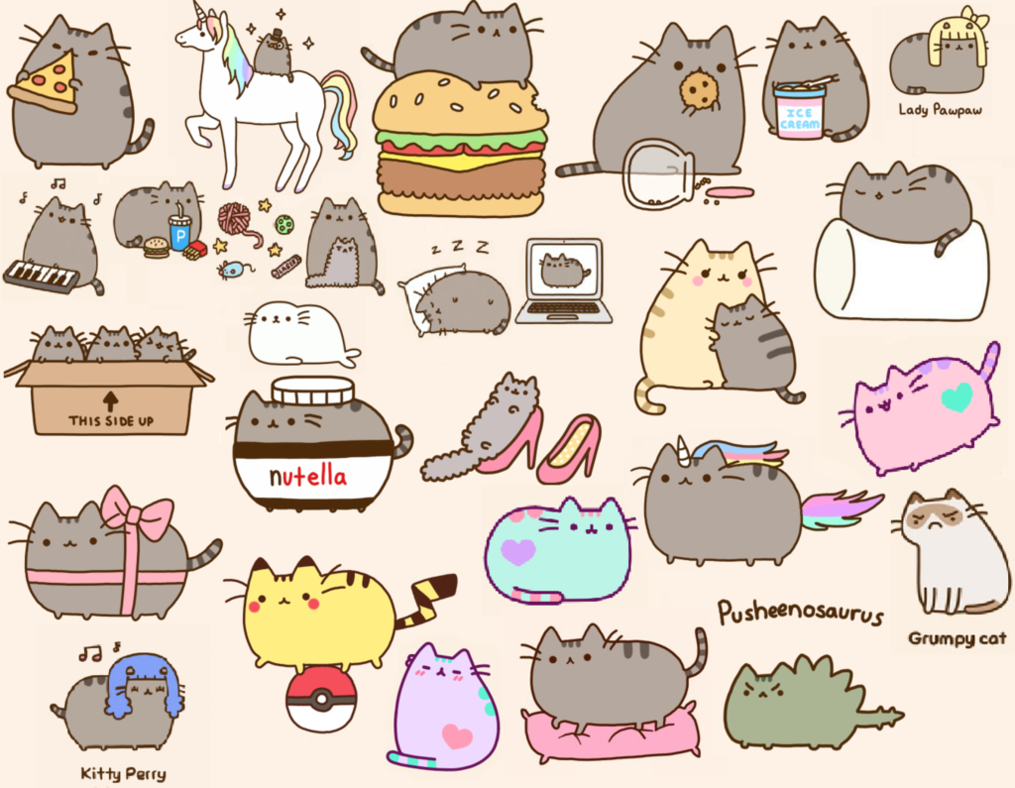 pusheen cat desktop wallpaper wallpapersafari