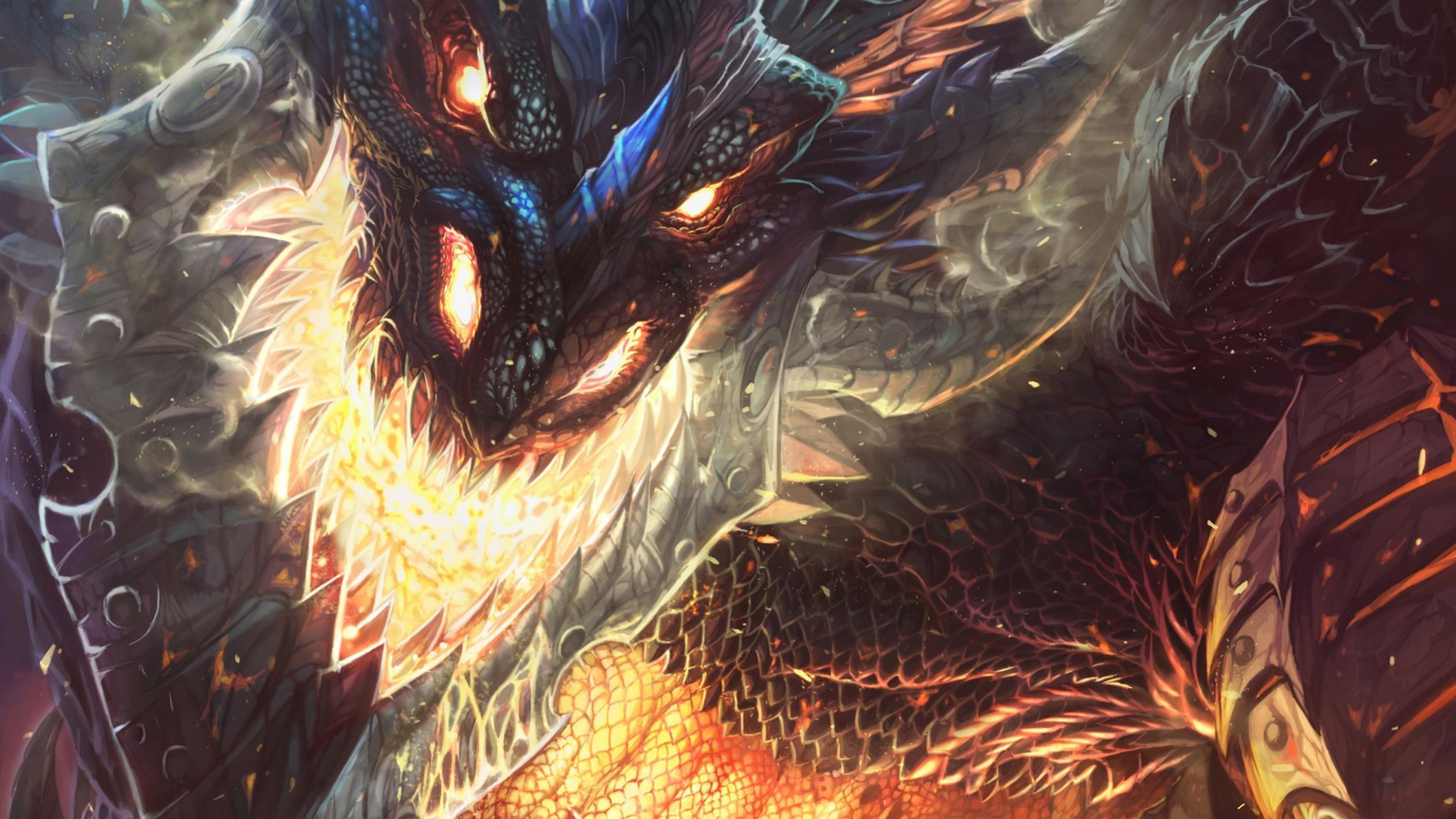 3840x2160 World of warcraft Cataclysm Dragon Face Fire Wallpaper 3840x2160