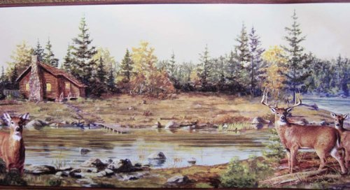 Cabin on the River Wallpaper Border 500x272