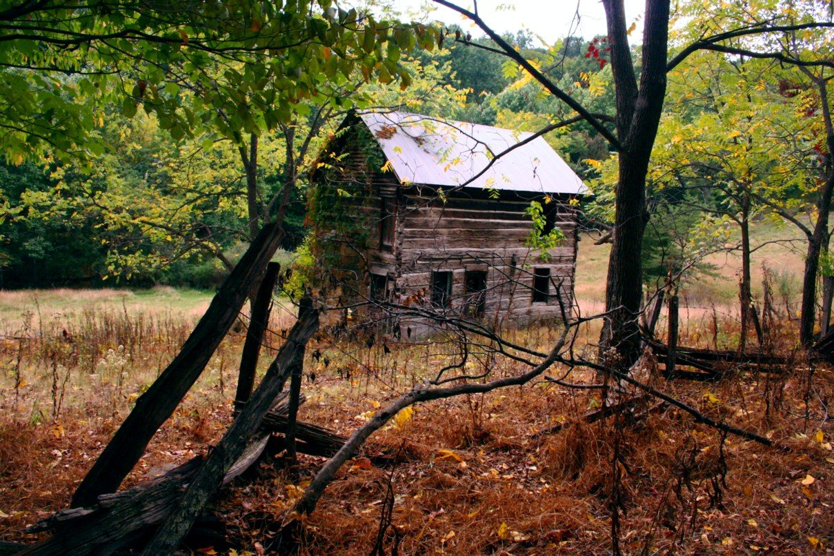 An old abandoned farm house scene with autumn leaves changing around 1209x806