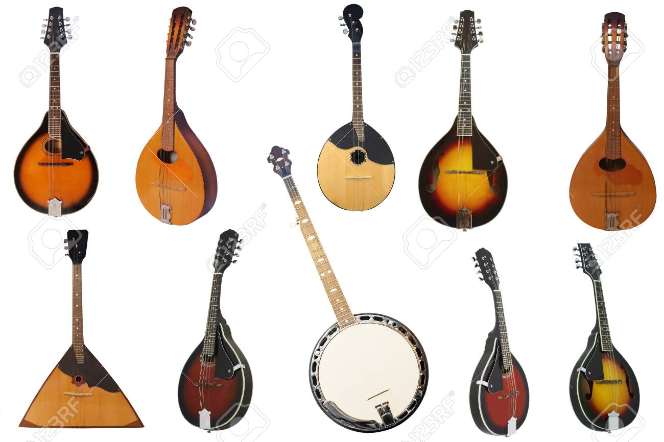 The Image Of Mandolin Under The White Background Stock Photo 1300x866