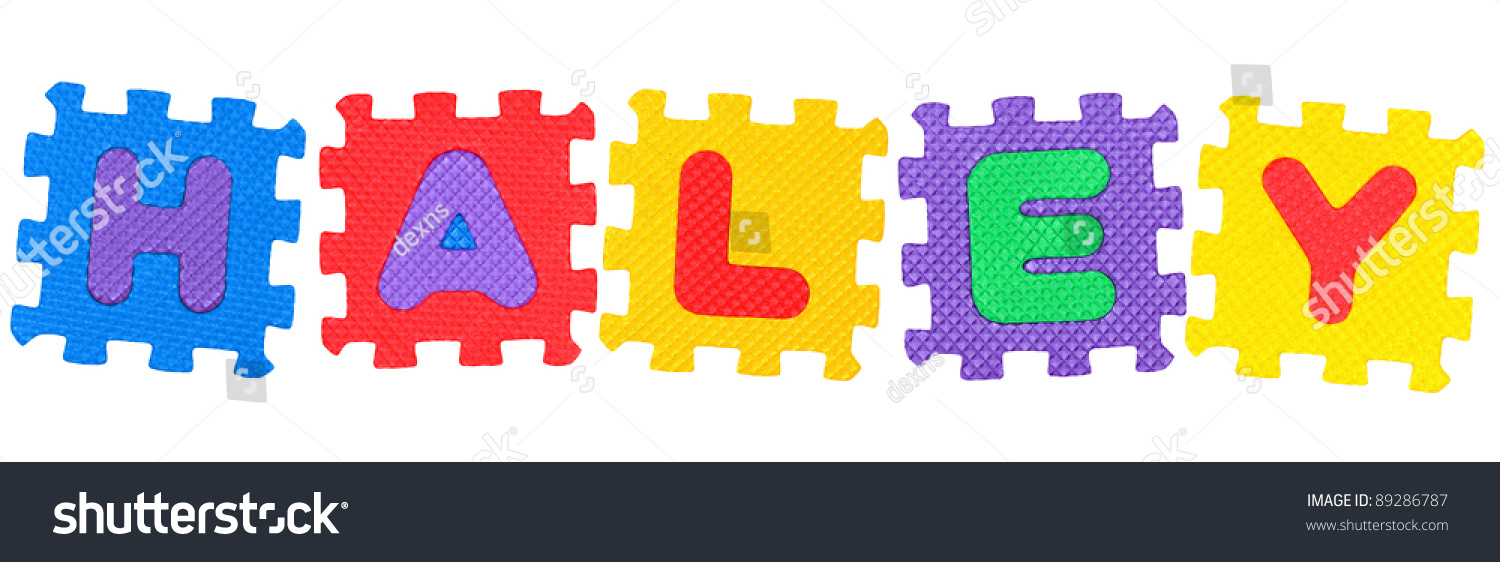 Name Haley Made Letter Puzzle Isolated Stock Photo Edit Now 89286787 1500x562