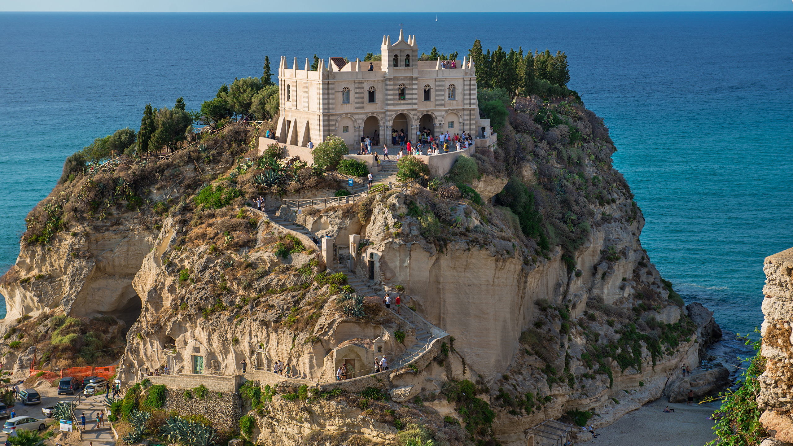 Photos Italy Tropea Cliff Stairs Cities Building 2560x1440 2560x1440