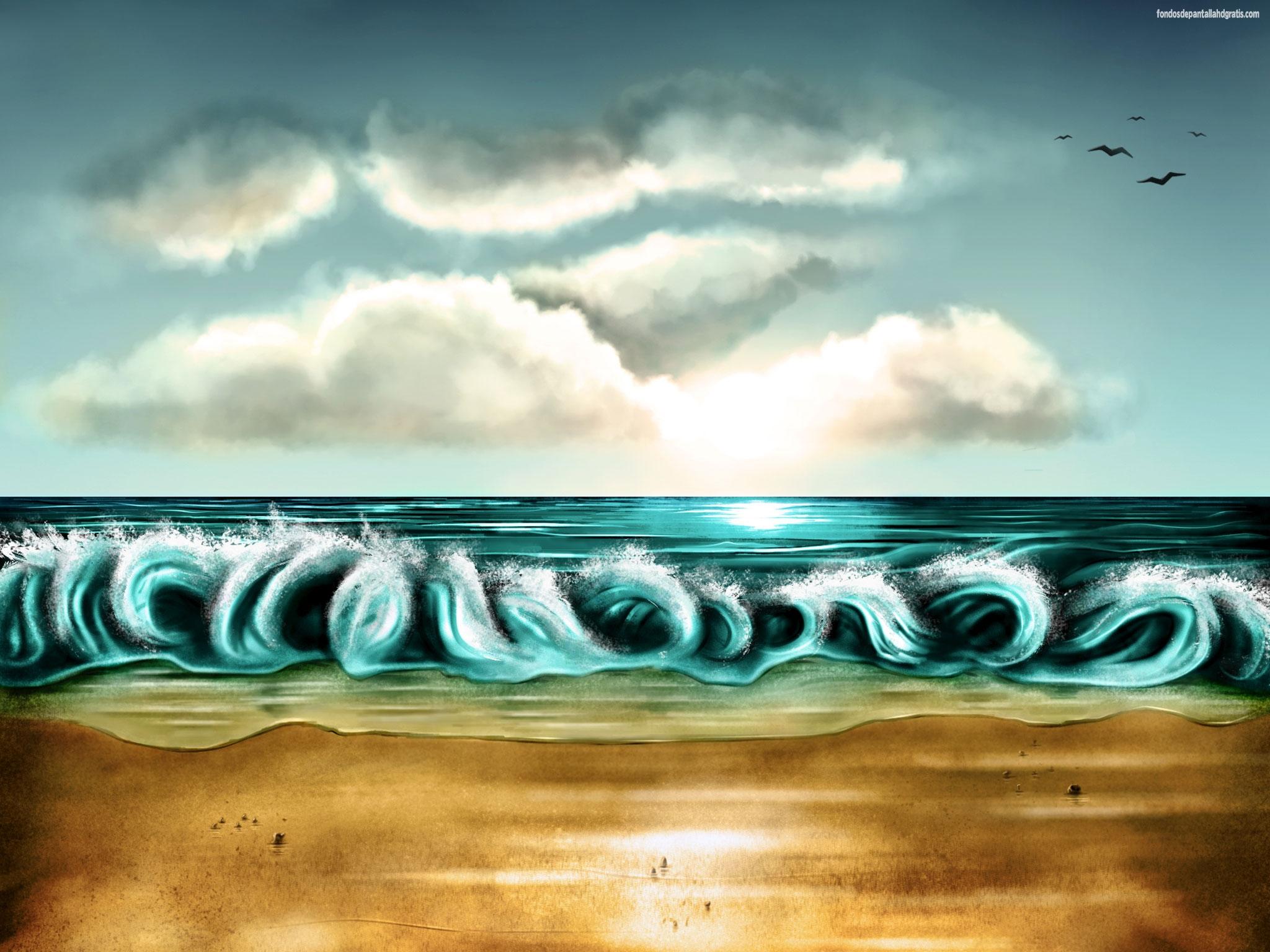 Descargar imagen animated waves and virtual birds 2048x1536 wallpaper 2048x1536