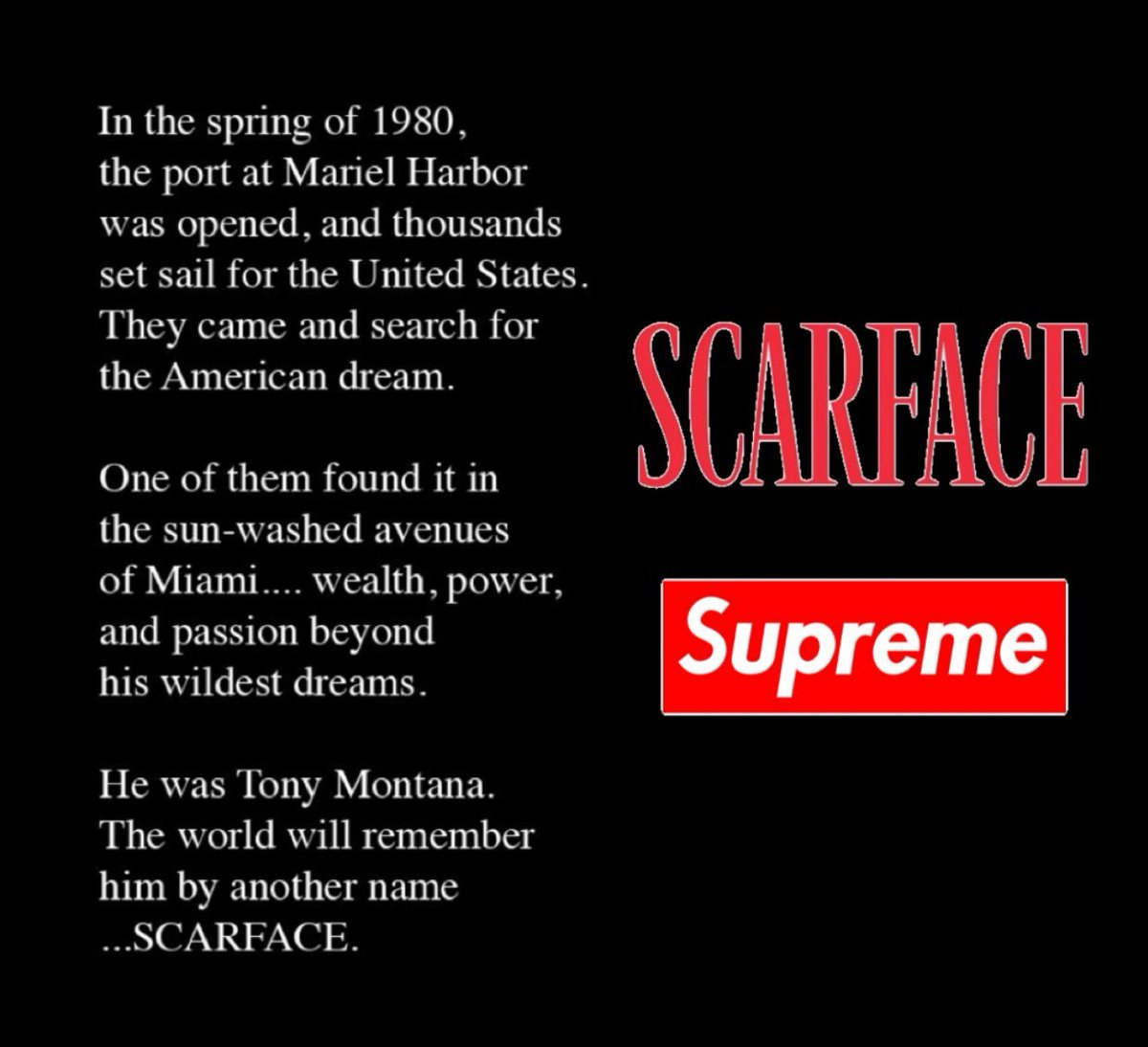 J on Twitter Supreme x Scarface Most Likely Dropping Next Week 1200x1094