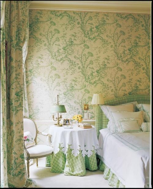 Green bedroom lovely wallpaper Green Pinterest 500x617
