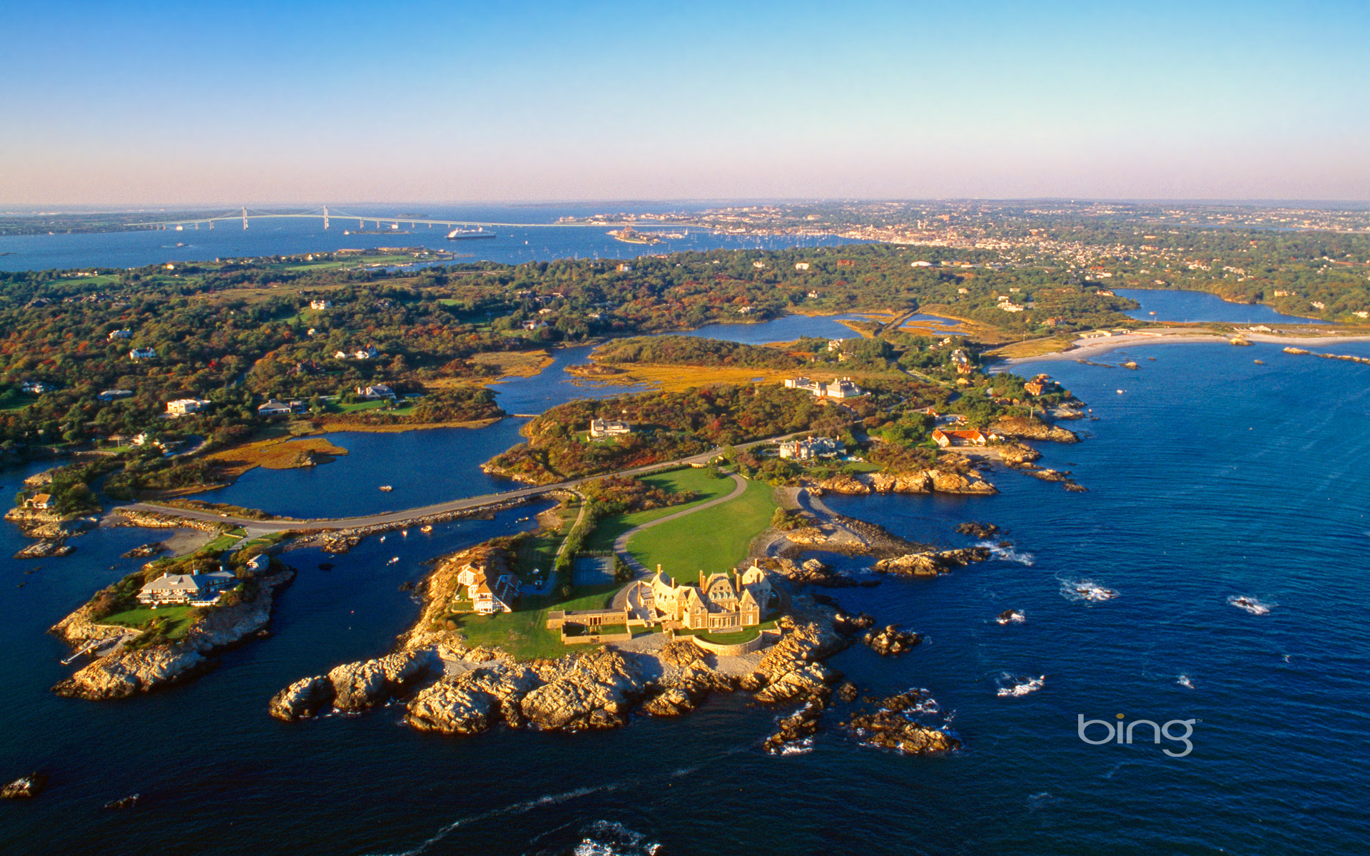 Aerial view of Ocean Drive in Newport Rhode Island Massimo 1920x1200