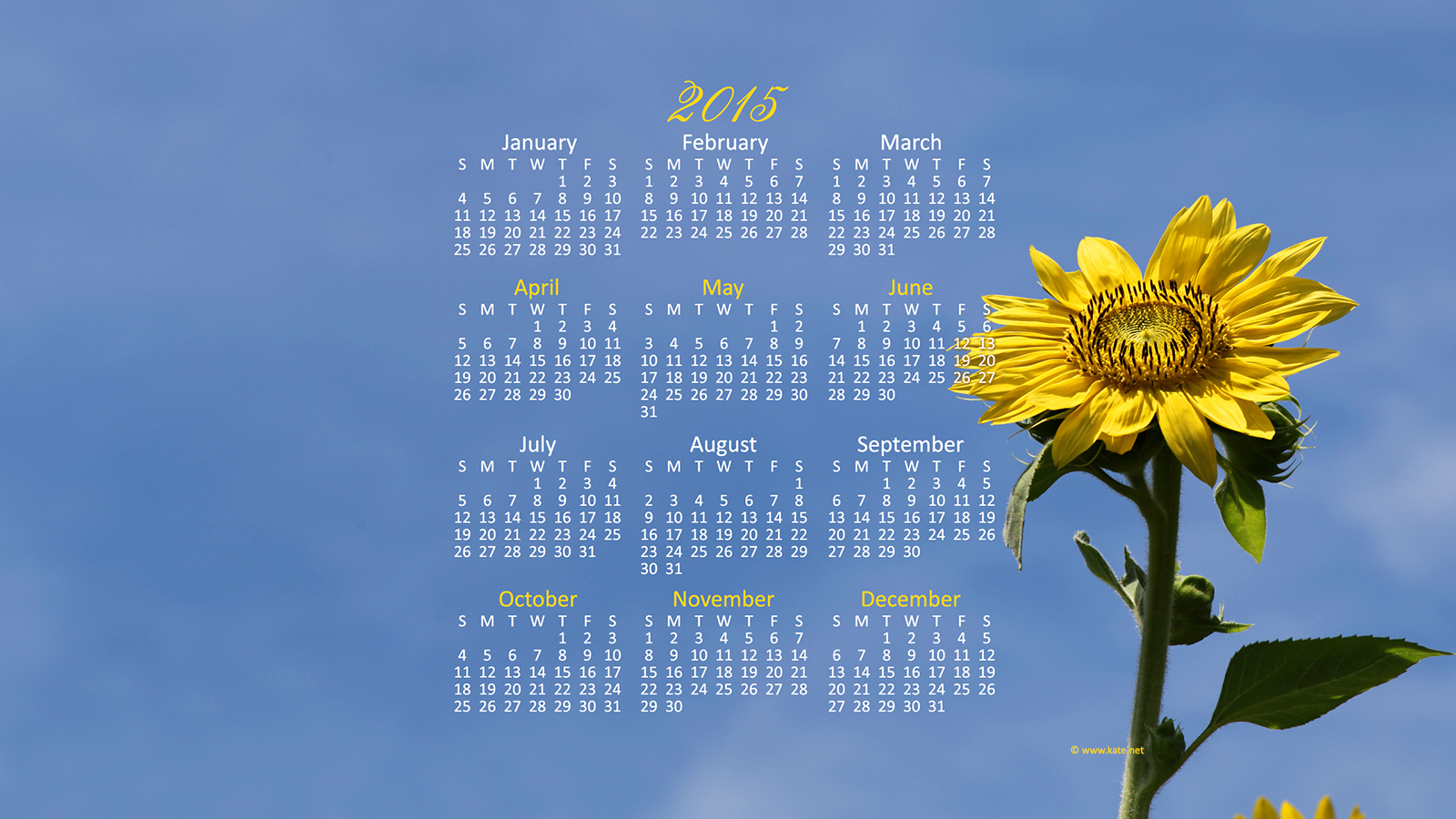 Full Year Calendar Wallpapers Yearly Calendar Backgrounds by Katenet 1600x900