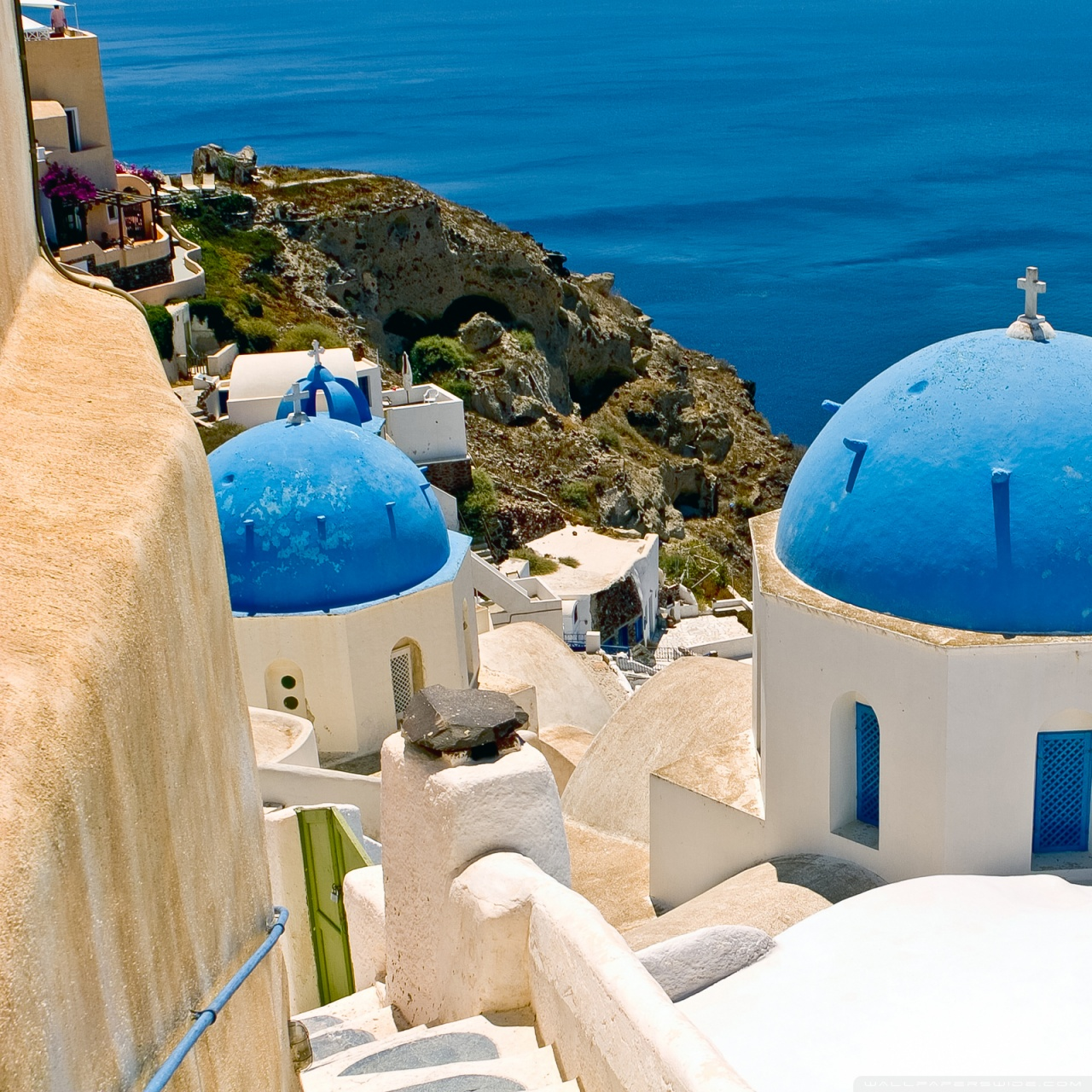 Oia Santorini Greece 4K HD Desktop Wallpaper for 4K Ultra HD 1280x1280