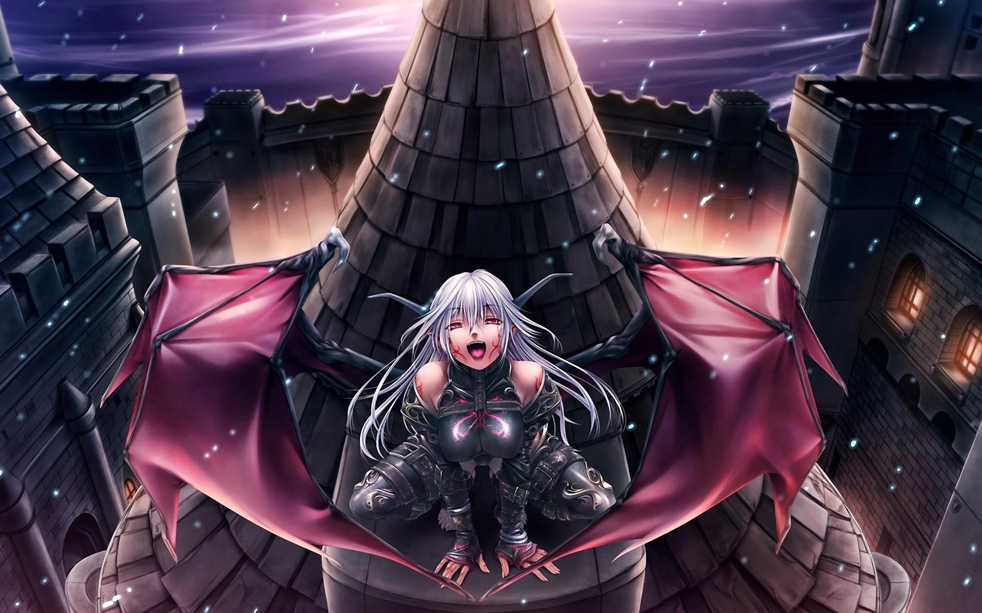 demon girl wings hd wallpaper horn anime 1920x1200 widescreen a546 1920x1200