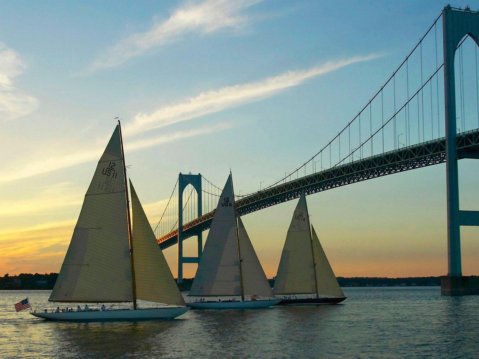 Yachts Sailing Under the Newport Bridge at Sunset Rhode Island 1600x1200