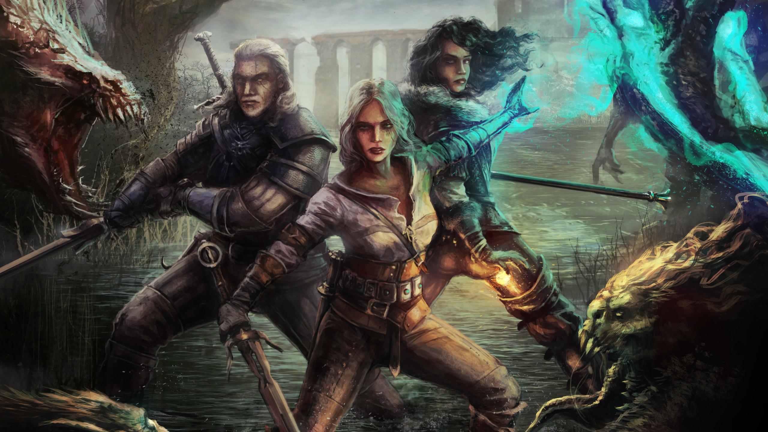 2560x1440 Witcher 3 Wild Hunt Geralt Yen And Ciri 1440P Resolution 2560x1440