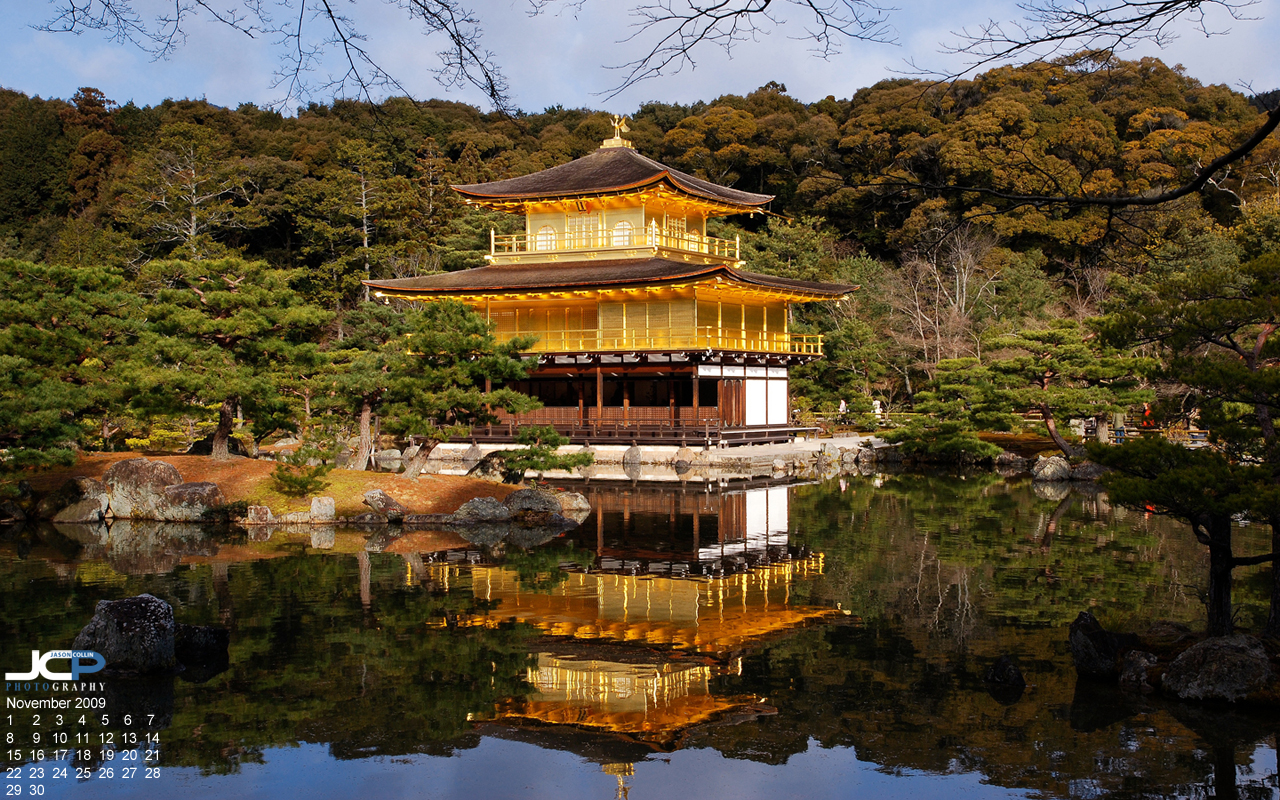 Free Desktop Calendar Wallpaper: Kinkakuji - The Golden Temple of ...