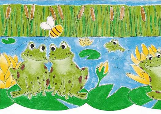 Green Froggy Friends Wallpaper Border   Wallpaper Border Wallpaper 525x373