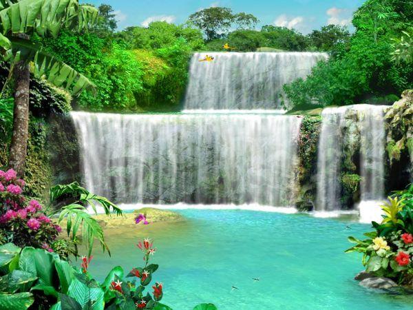 3D Screensaver   3D Marine Living Waterfalls 3 3D Screensaver 600x450
