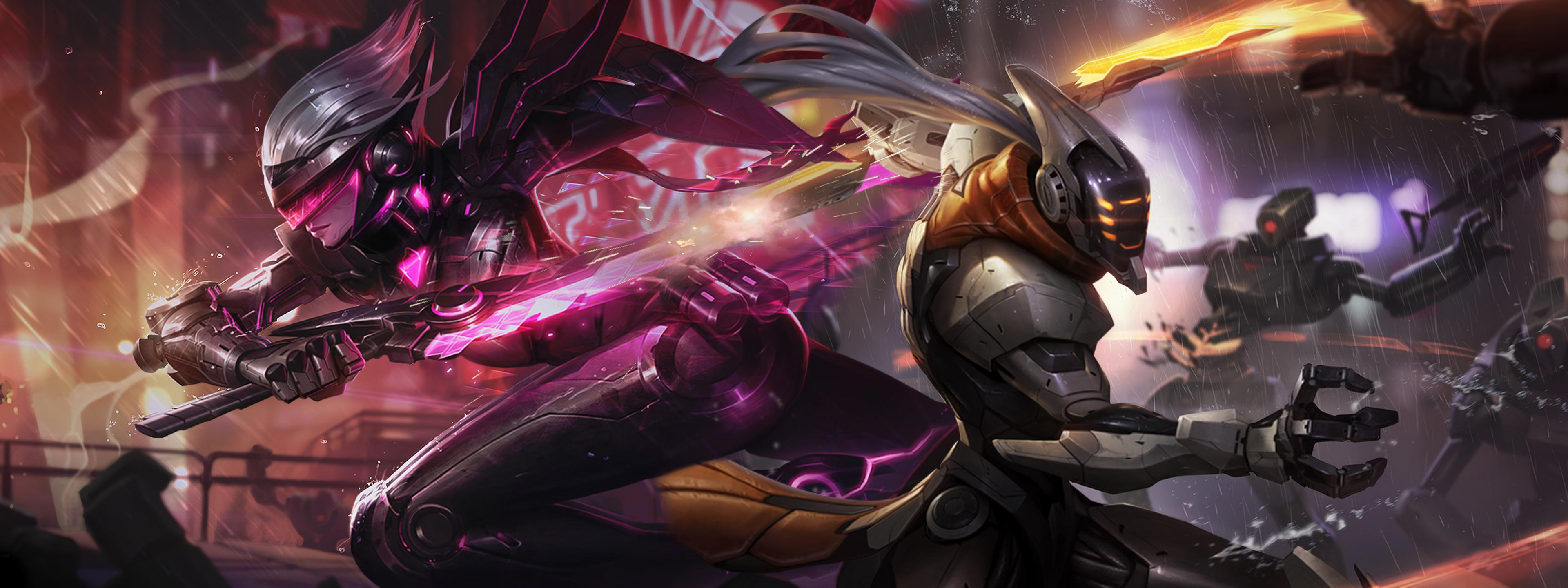 Download dual monitor wallpaper league of legends   PROJECT Yi Fiora 3840x1440