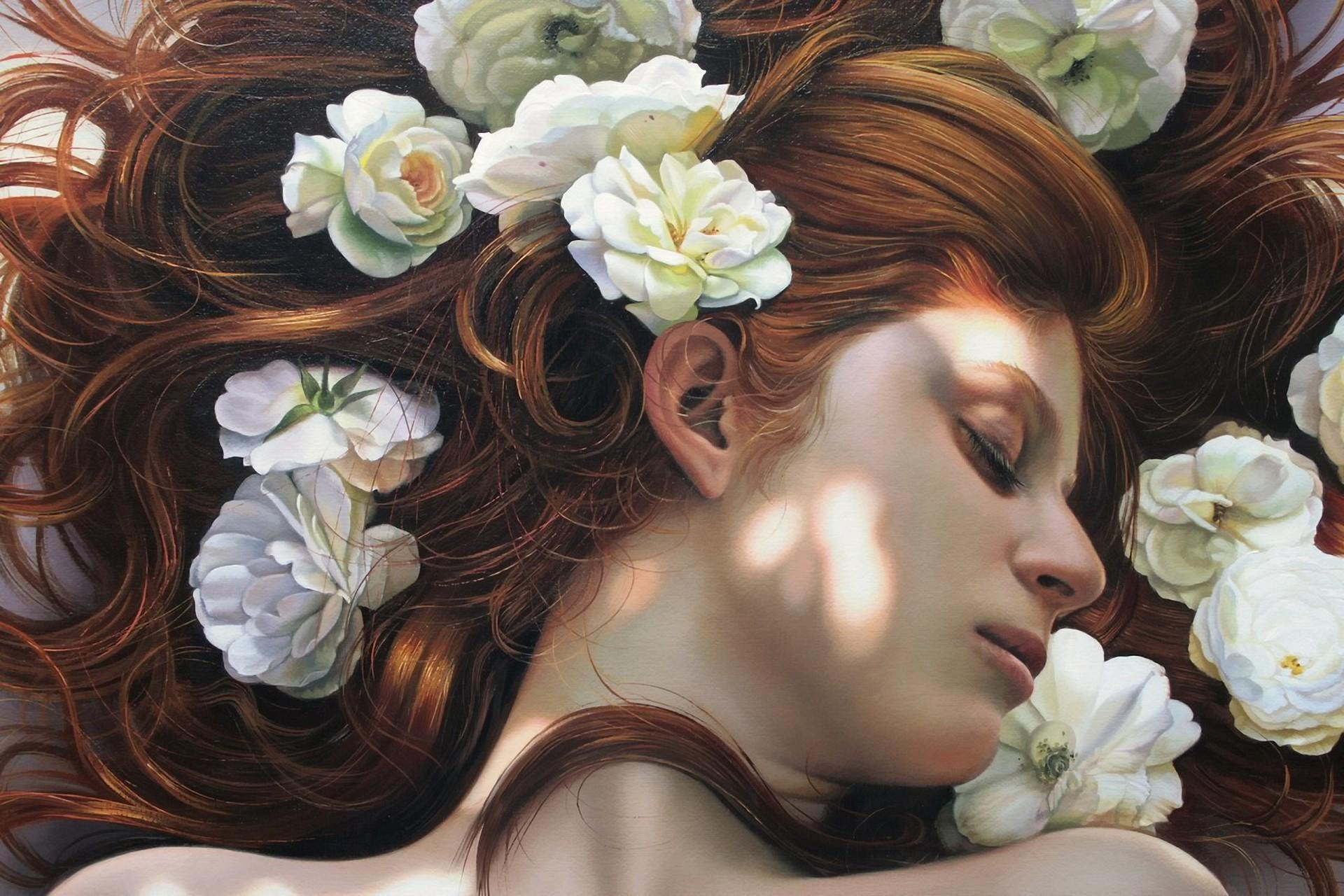 Wallpaper face women redhead artwork hair clothing ART 1920x1280
