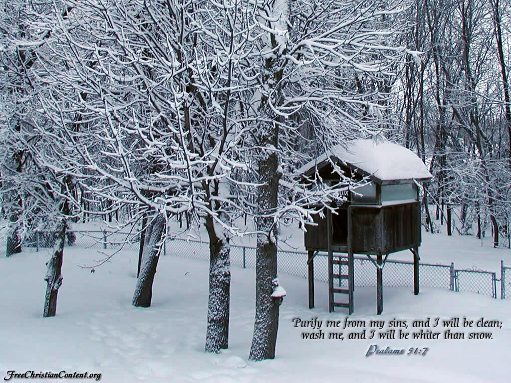 Bible Verse with Snow 1024x768