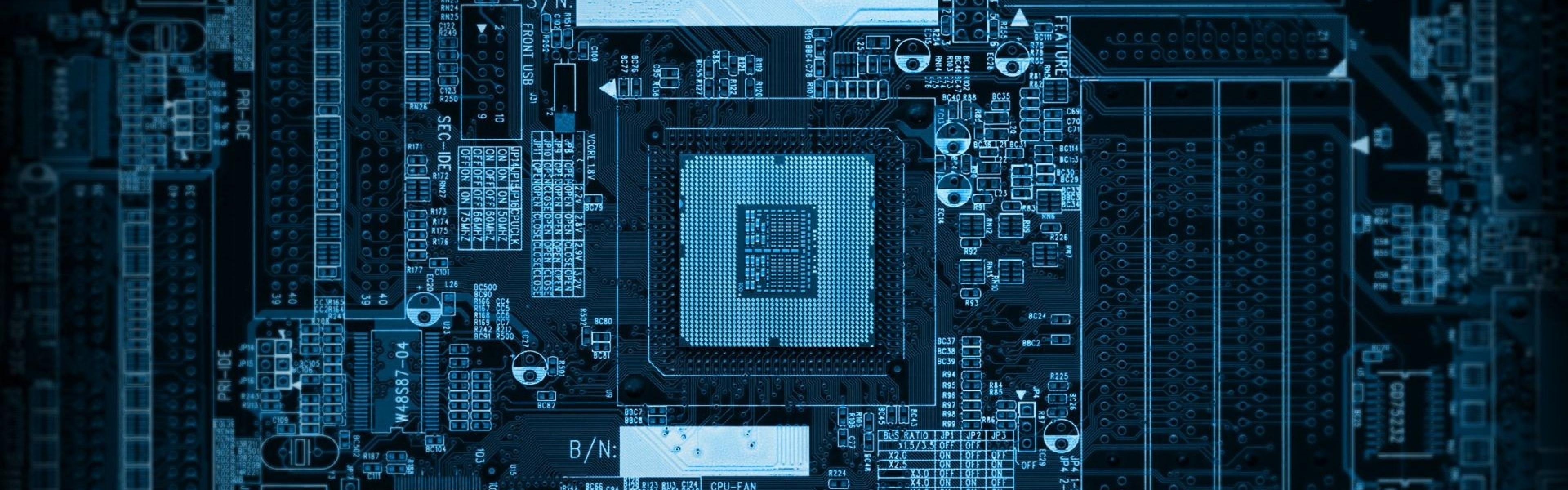 Chip Computer Microchip Processor Wallpaper Background Dual Wide 3840x1200