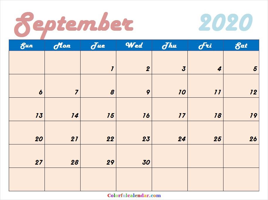 Cute September 2020 Calendar 2020 Calendar 915x684