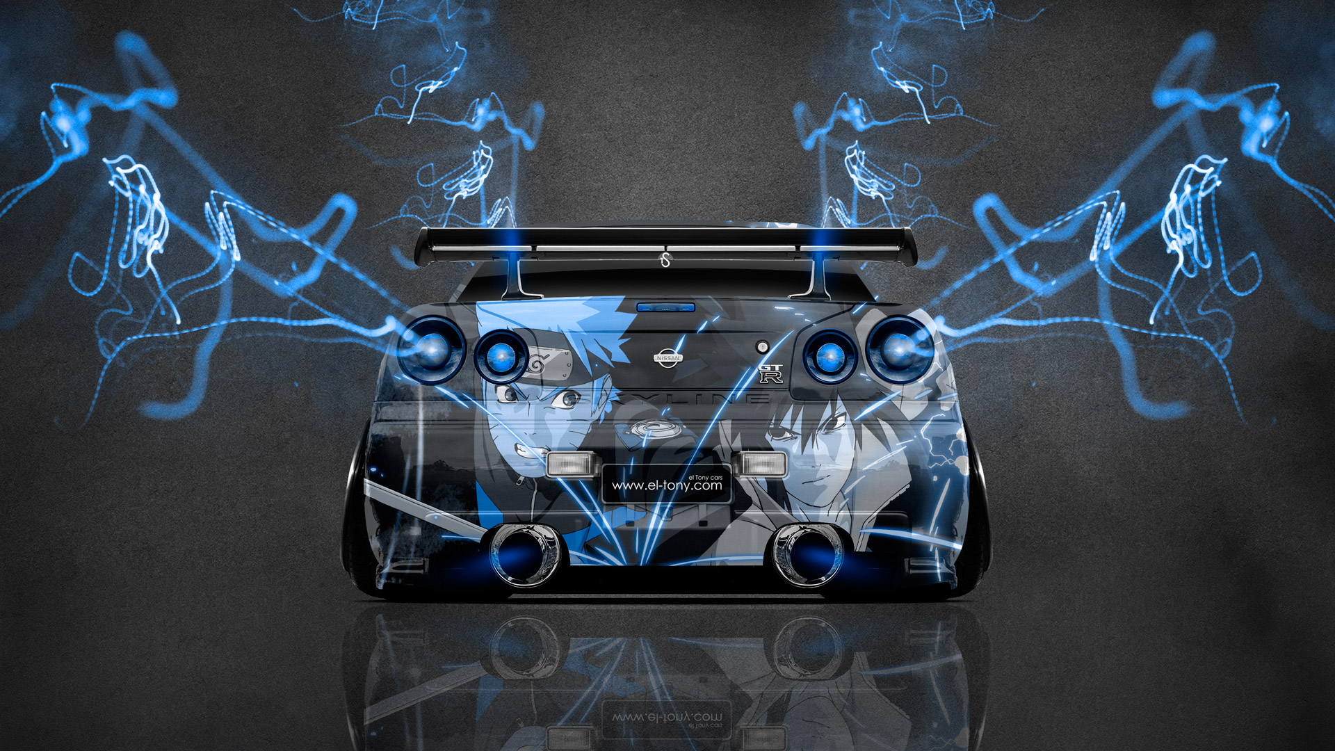 Nissan Skyline GTR R34 JDM Back Anime Aerography Car 2014 Art Blue 1920x1080