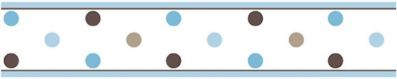 Blue and Brown Polka Dot Wallpaper Border for Girls Room or Nursery 580x116