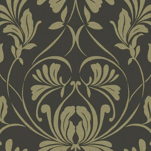 Casablanca Damask Wallpaper in Charcoal by Ronald Redding for York Wal 600x600