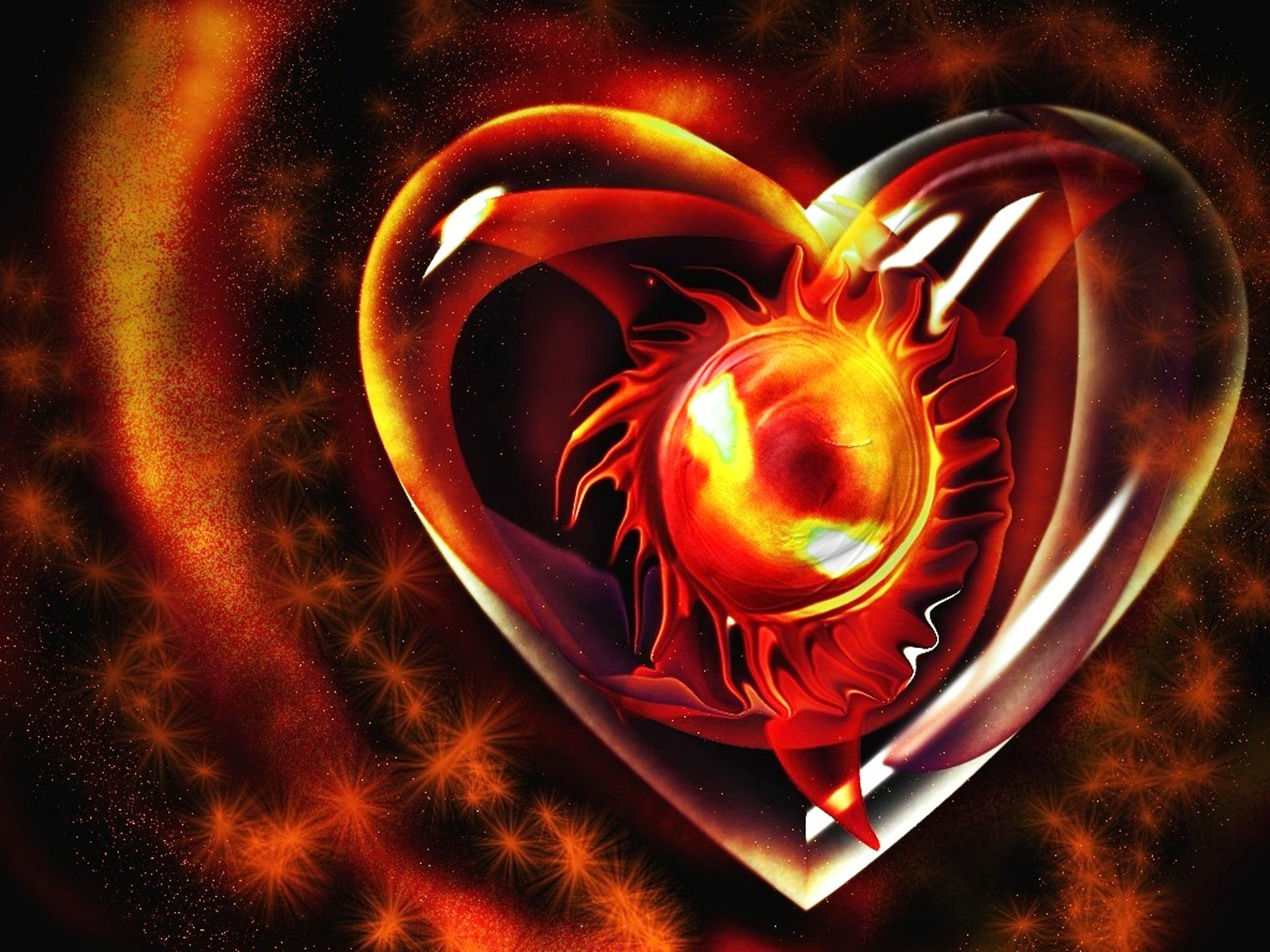 3D Fire Heart Love   HD Wallpapers   3D Fire Heart Love 1920x1440