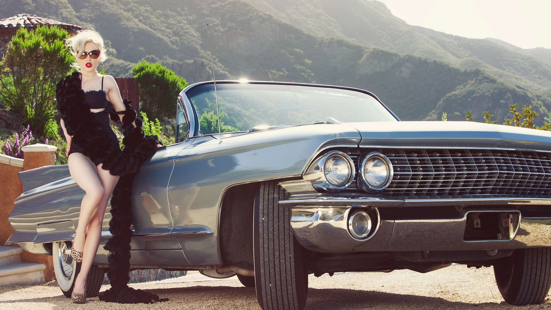hot blonde babe Carissa White and american classic car wallpaper 1920x1080