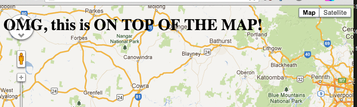 Use a Google Map as the background of your webpage 723x217