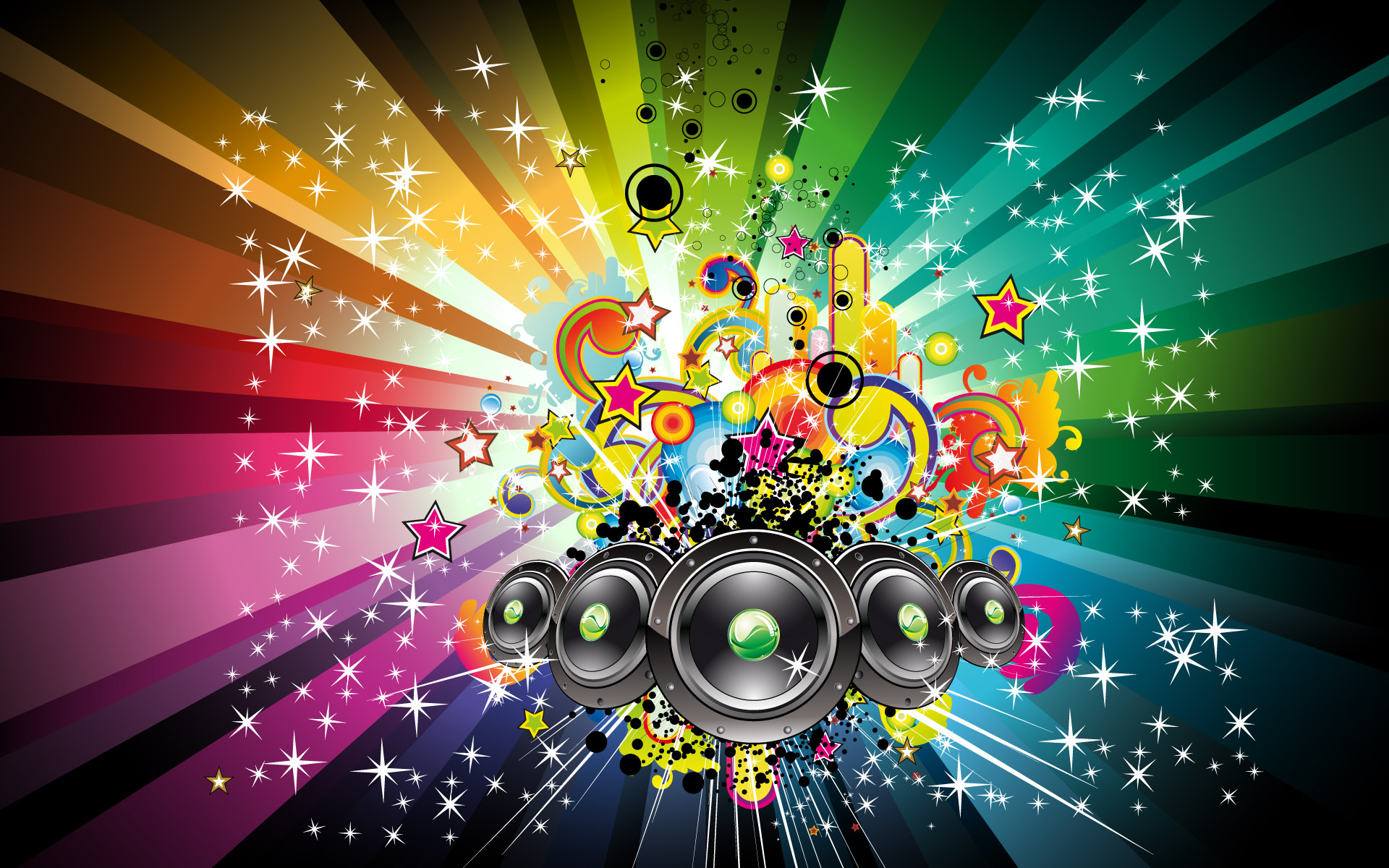 Speakers and rainbow shapes wallpaper   510170 1920x1200