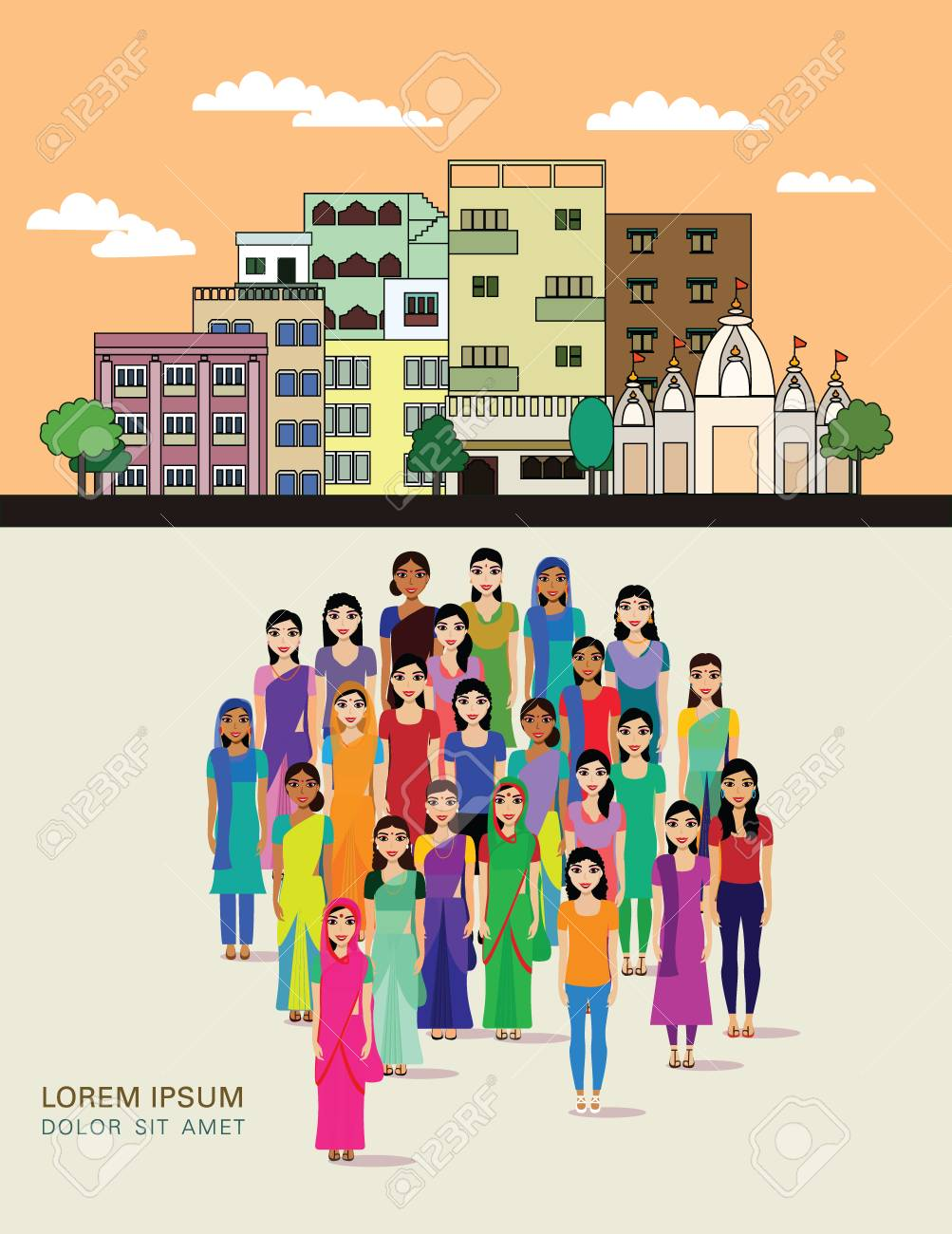 Big Crowd Of Indian Women Vector Avatars On Indian Town Background 1003x1300