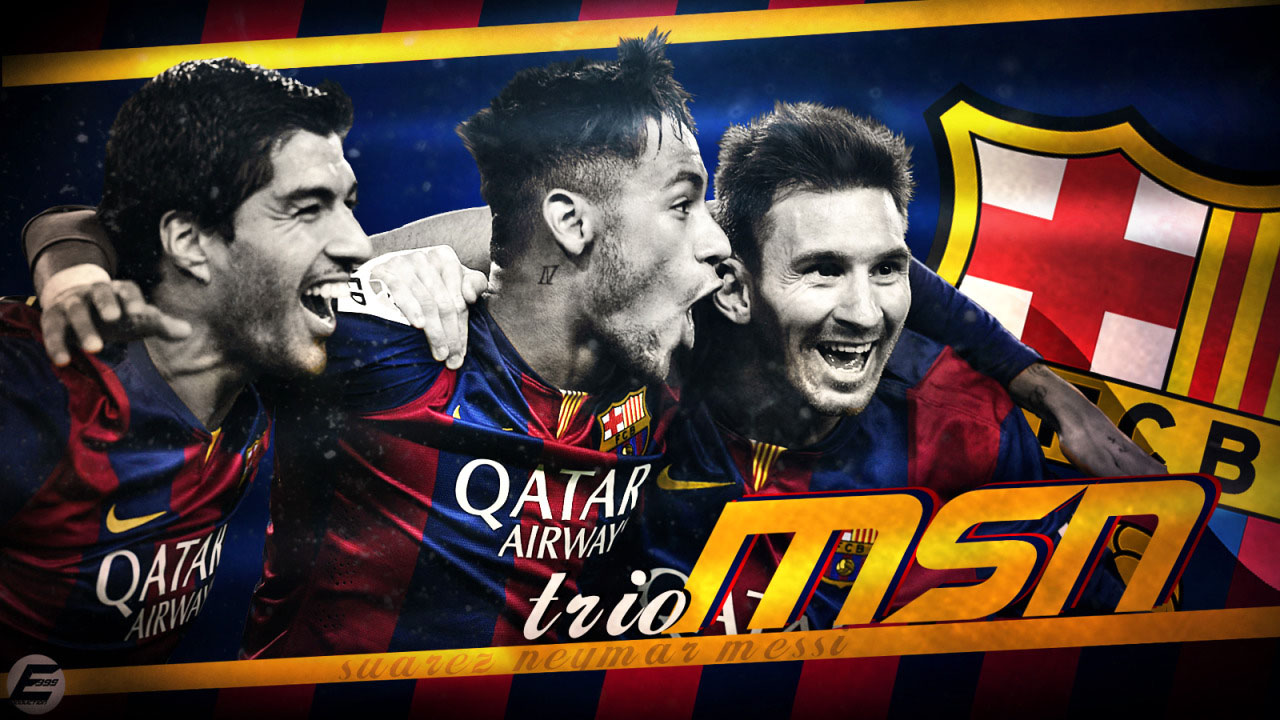 Messi Suarez Neymar in a FC Barcelona MSN wallpaper 1280x720