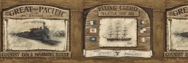 Railroad Trains Clipper SHIP Wallpaper Border AW77358 eBay 770x259