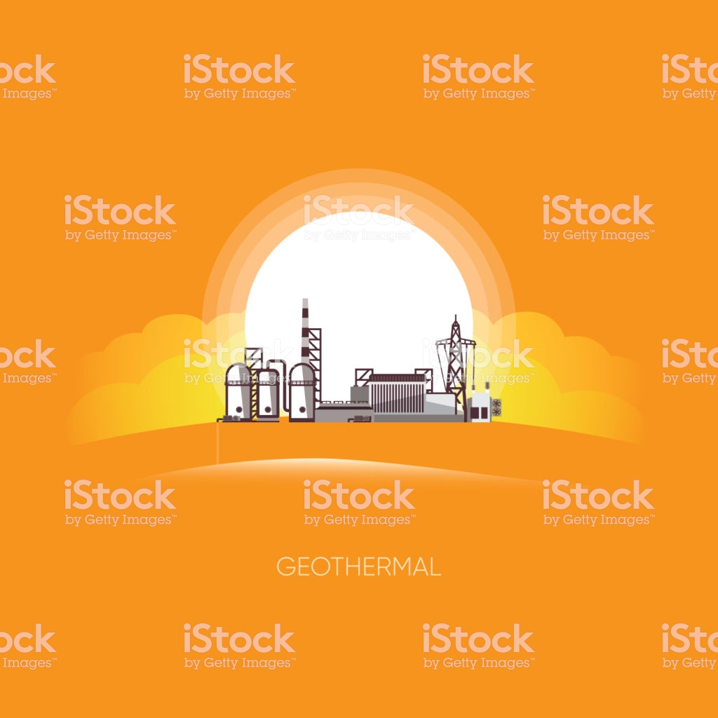 Geothermal Energy Geothermal Power Plant With The Sun Background 1024x1024
