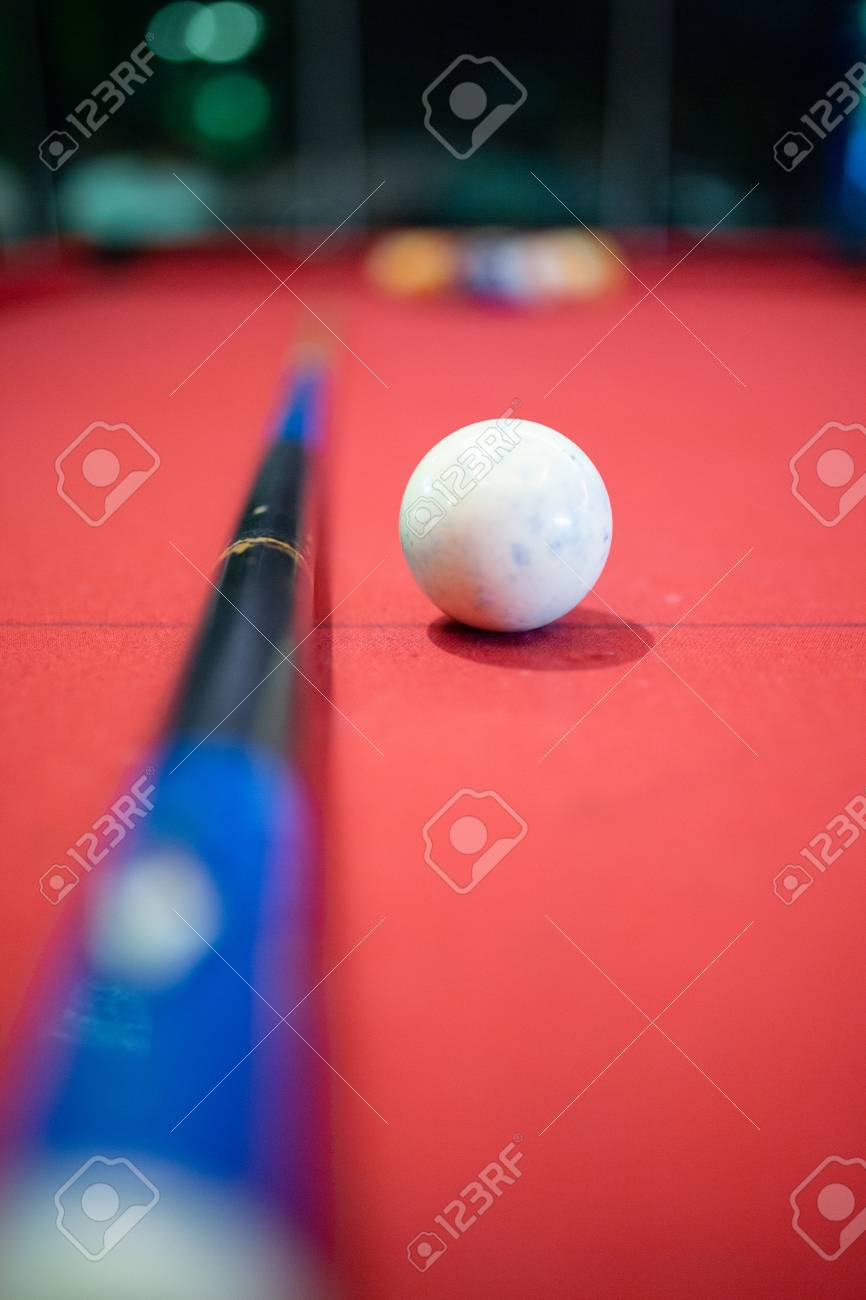 Billiard Ball On Red Table Background In Pub Bar Room Concept 866x1300
