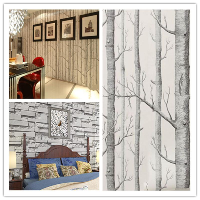 Vivid Art Wallpaper Roll Birch TreeBrick Stone Room Decor Textured 800x800