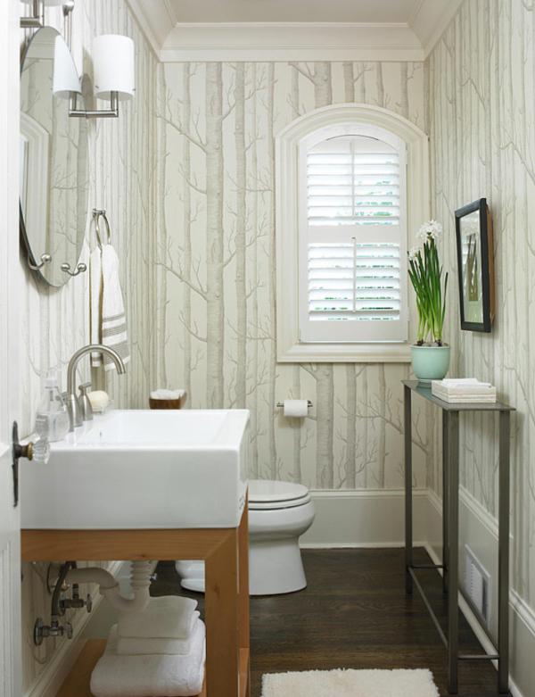powder bathroom powder bath small bathroom wallpaper pedestal sink 600x781