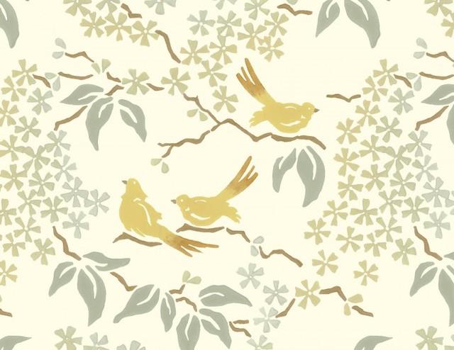 Birds Wallpaper Pale Yellow   Contemporary   Wallpaper   by Galbraith 640x494