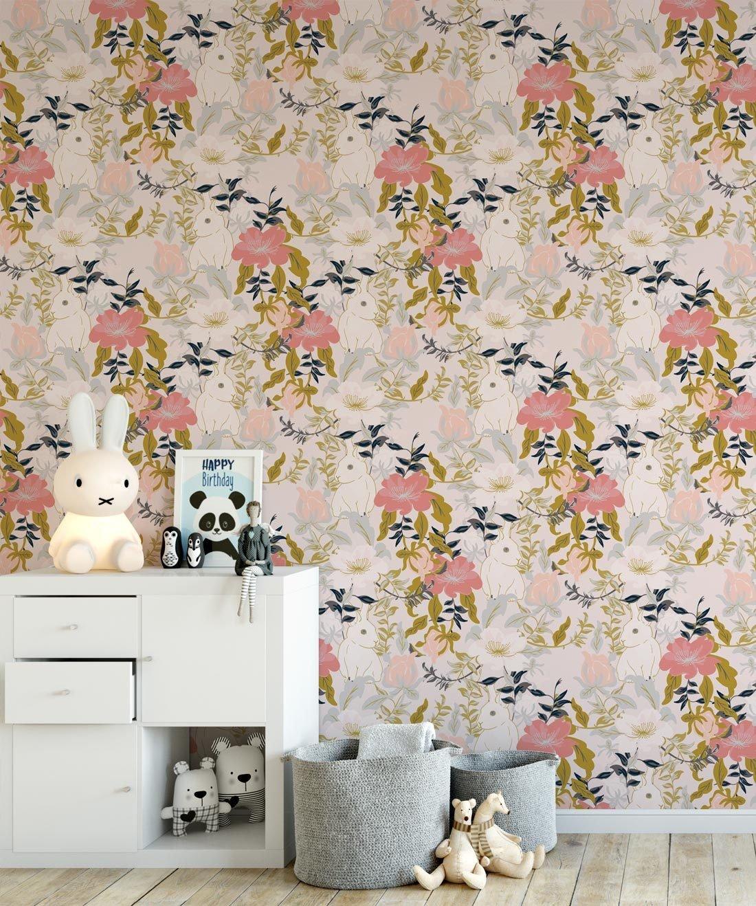 Garden Bunny Wallpaper in Blush from the Wallpaper Republic 1100x1318
