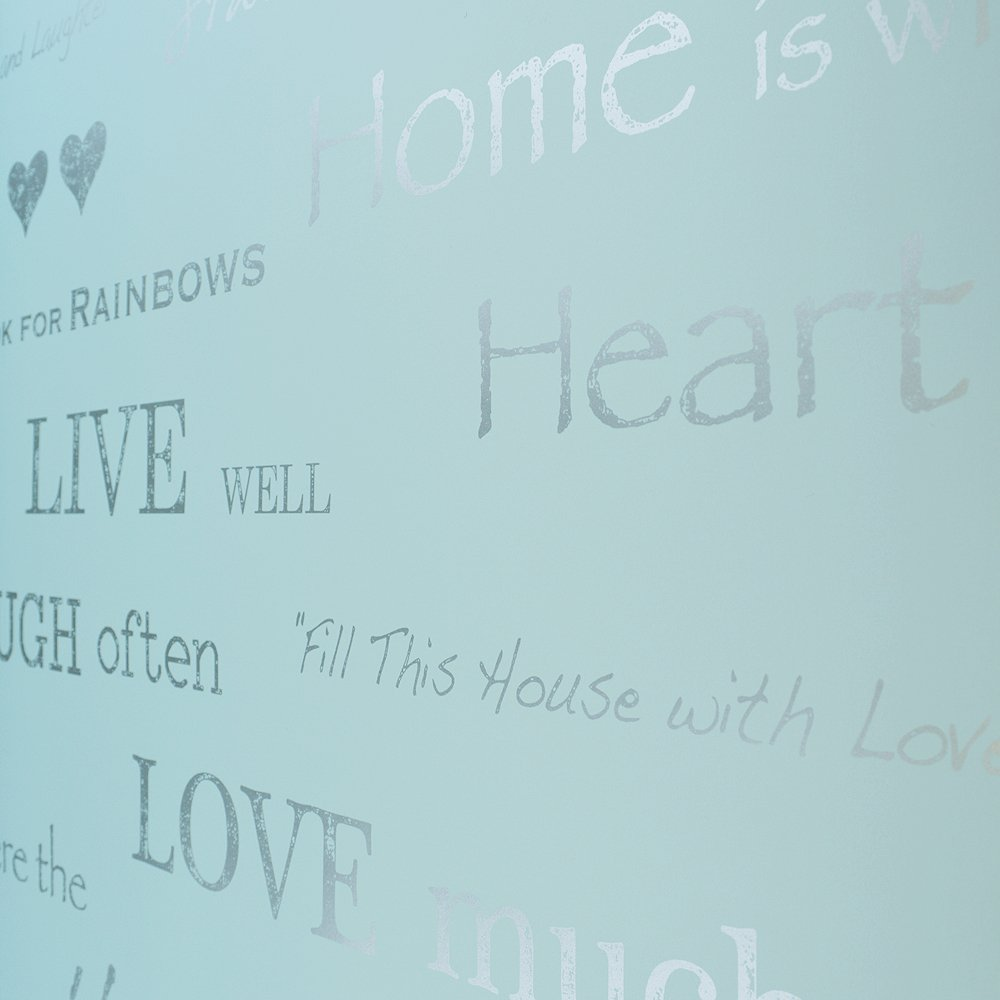 Love Wallpaper Shimmer Wall Quotes Wallpaper Teal Silver eBay 1000x1000