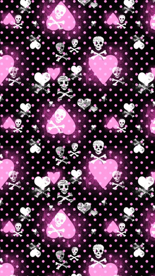 Pink Heart and Skull Patterns Wallpaper   iPhone Wallpapers 640x1136