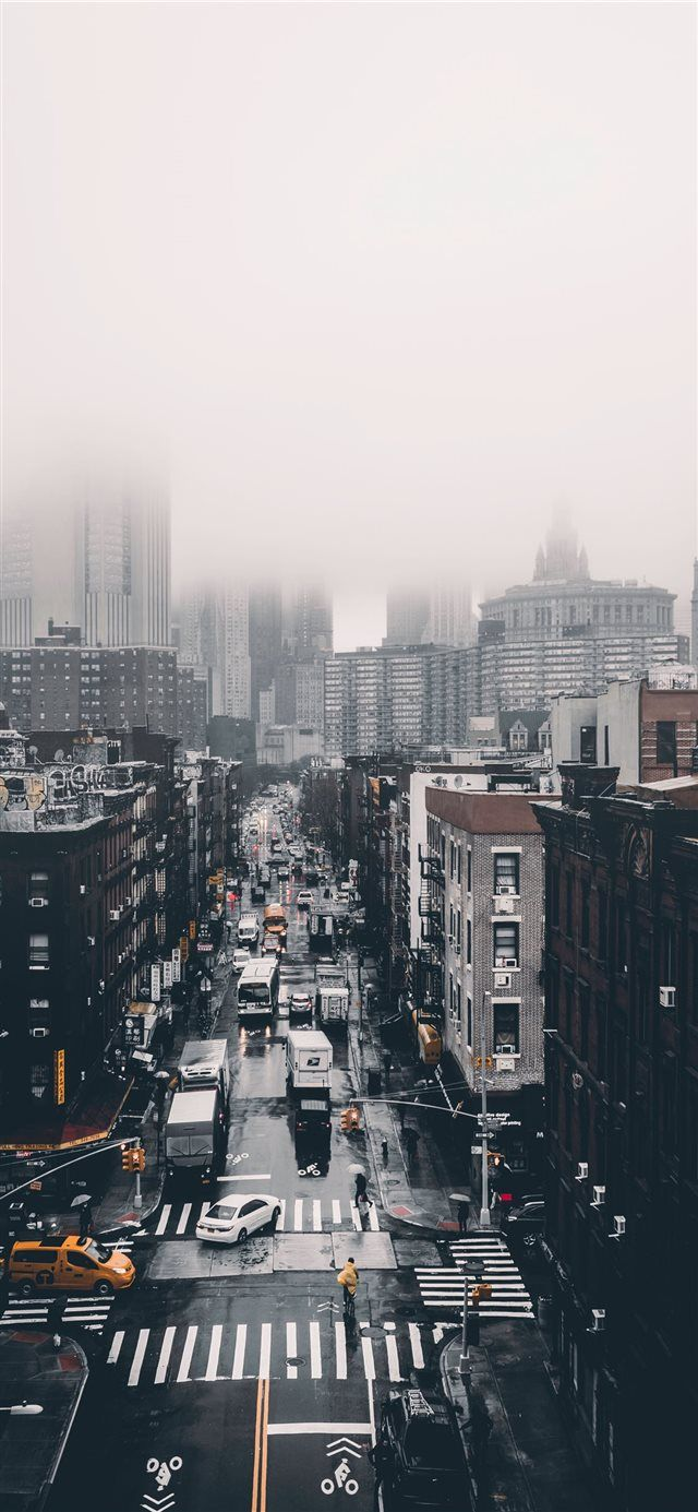 Foggy Day iPhone X wallpaper town city road building 640x1385