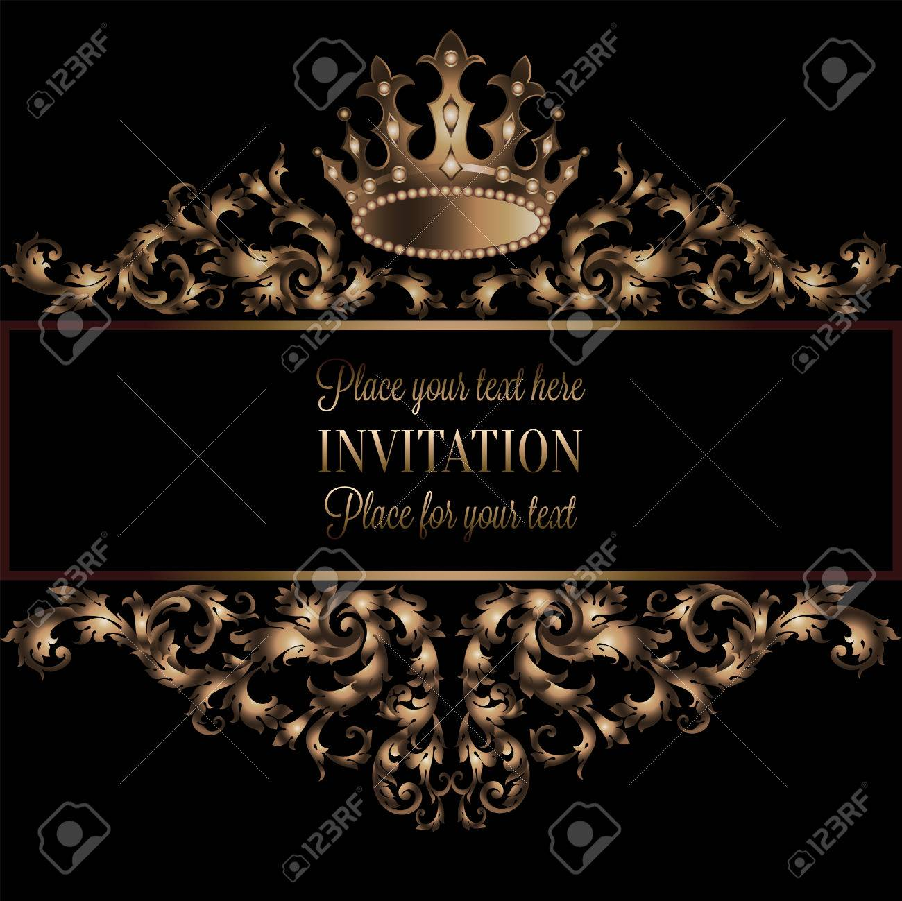Free Download Vintage Gold Invitation Card With Black