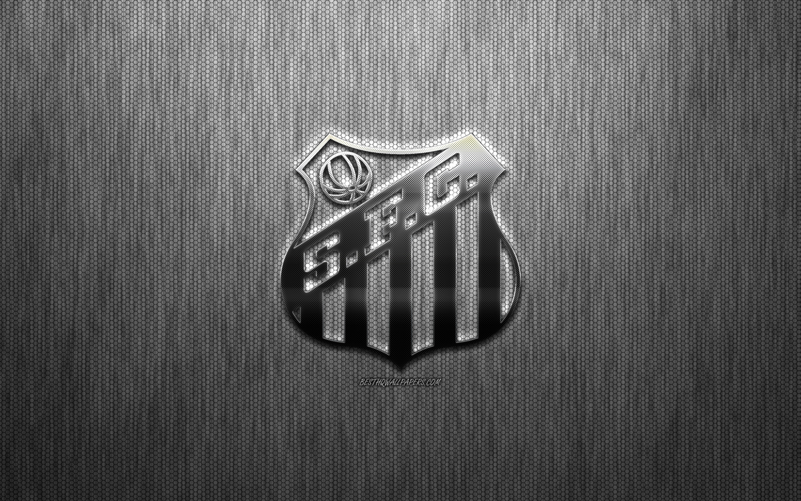 Download wallpapers Santos FC Brazilian football club steel logo 2560x1600