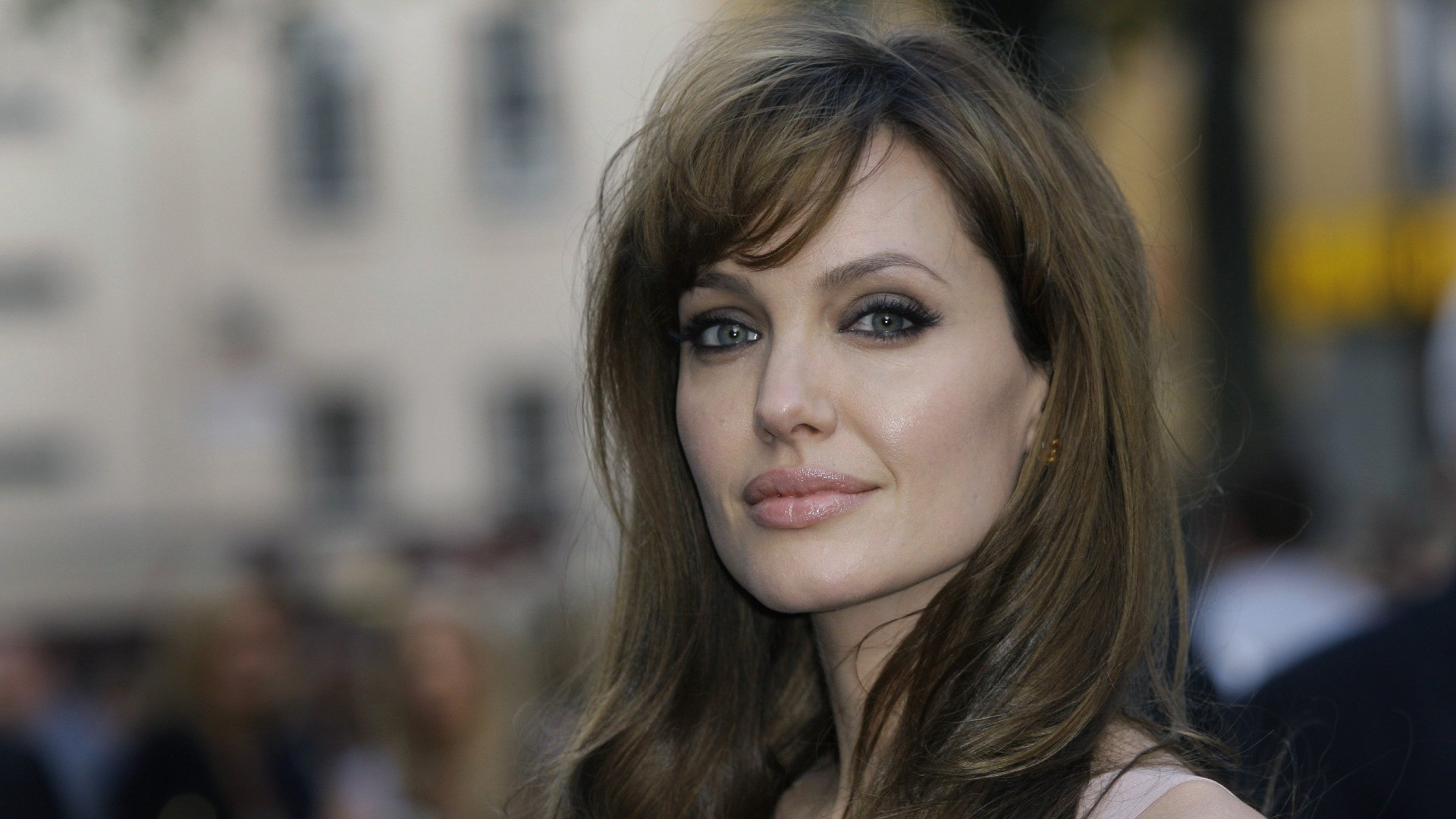 Angelina Jolie actress angelina jolie brunette face girl gray 1920x1080