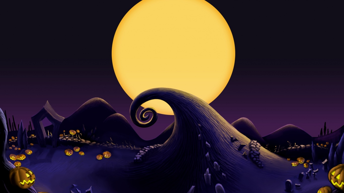 1366x768 The Nightmare Before Christmas Landscape desktop PC and 1366x768
