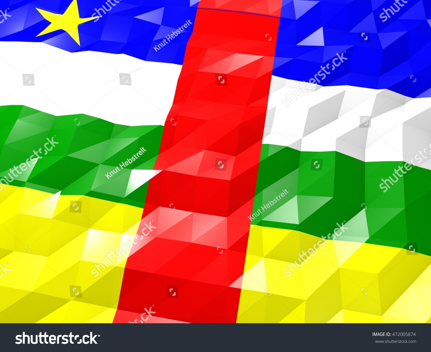 Flag Central African Republic 3 D Wallpaper Stock Illustration 1500x1225