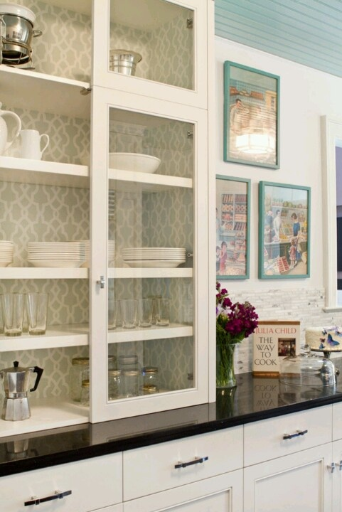 Wallpaper inside cabinets 481x720